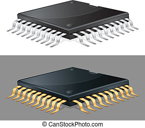 Illustration of computer microchip isolated, integrated circuit, vector
