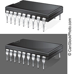 Computer chip - Illustration of computer microchip isolated...