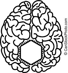 Computer chip inside brain flat style illustration