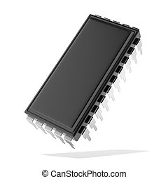 Computer chip isolated on a white background