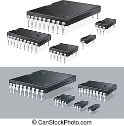 Computer chips - Illustration of computer microchips...