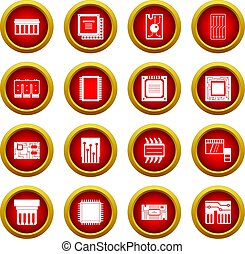 Computer chips icon red circle set
