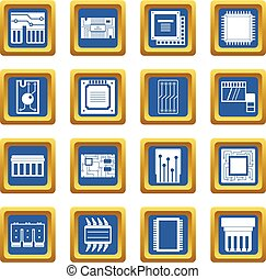 Computer chips icons set blue