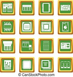 Computer chips icons set green