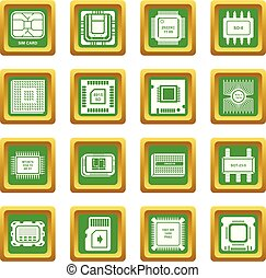Computer chips icons set green square vector