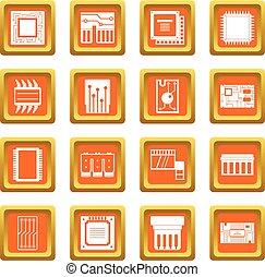 Computer chips icons set orange