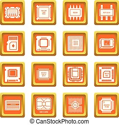 Computer chips icons set orange square vector