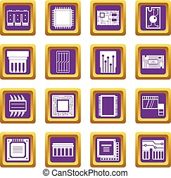 Computer chips icons set purple