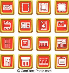 Computer chips icons set red