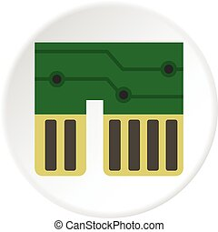 Computer chipset icon circle - Computer chipset icon in flat...