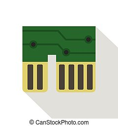 Computer chipset icon, flat style - Computer chipset icon....