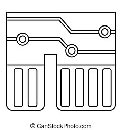 Computer chipset icon outline