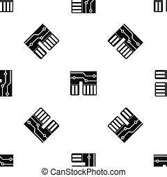 Computer chipset pattern seamless black - Computer chipset...