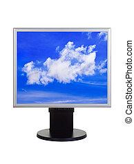 computer, cielo, monitor