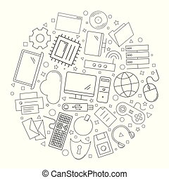 Computer circle background from line icon. Linear vector pattern.
