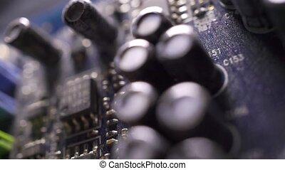 Computer circuit board macro dolly shot