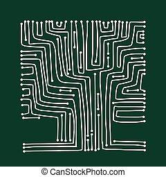 Computer circuit board tree shape design