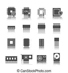 Computer circuit icons set