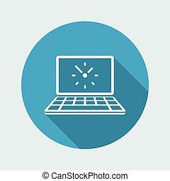Computer clock - Vector flat icon
