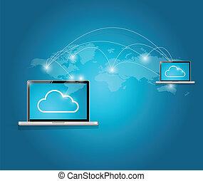 computer cloud computing connection illustration