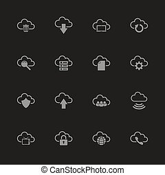 Computer Cloud - Flat Vector Icons