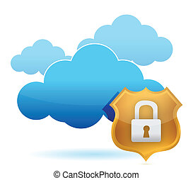 computer cloud protected by gold shield