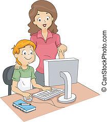 Computer Club Advisor - Illustration of a Computer Teacher...
