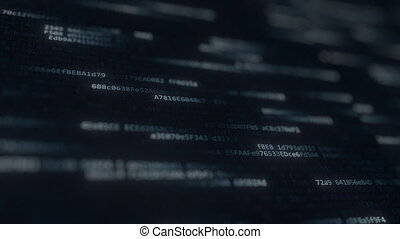 Computer code symbols on the screen. Loopable animation -...