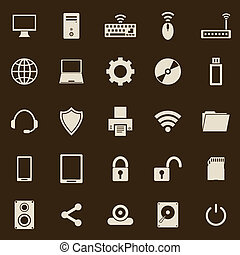 Computer color icons on brown background
