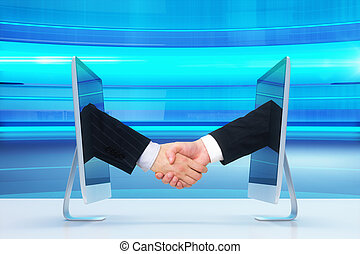 Computer communication concept with human handshake on blue abstract background