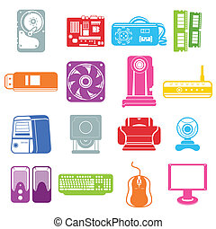 Computer component icons - A vector illustration of computer...