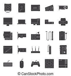 Computer components and peripherals silhouettes icons set