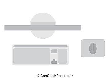 computer, con, monitor, tastiera, e, topo