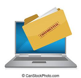 computer, confidenziale, file