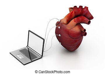 computer connected to a human heart