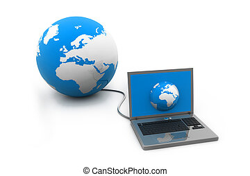 Computer connected to earth globe