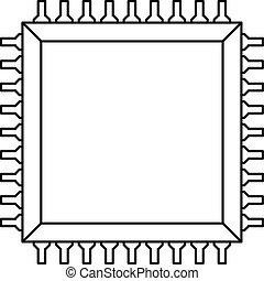 computer, contorno, microchip, icona