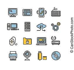 computer, contorno, set., vettore, tecnologia, icona