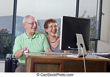 computer, coppia, anziano, usando