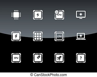 Computer CPU and microchip icons on black background.