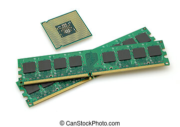 Computer CPU and rams in isolated in white background