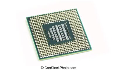 Processor spinning on white background