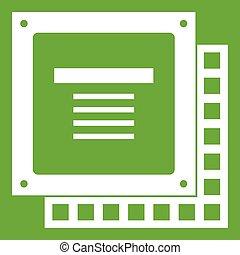 Computer CPU processor chip icon green