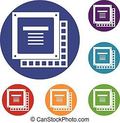 Computer CPU processor chip icons set