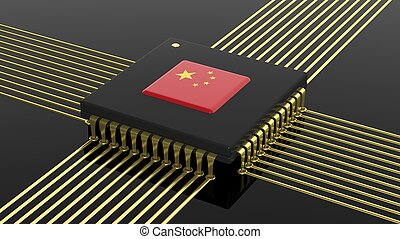 Computer CPU with Chinese flag isolated on black background