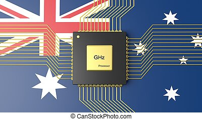 Computer CPU with flag of Australia background