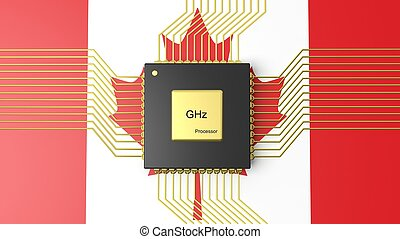 Computer CPU with flag of Canada background