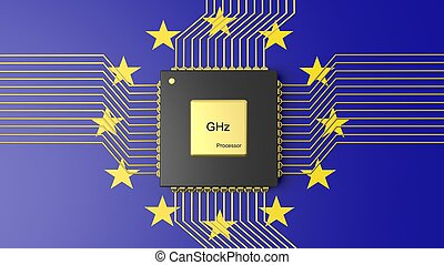 Computer CPU with flag of European Union background