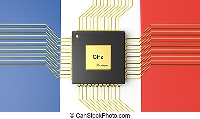 Computer CPU with flag of France background