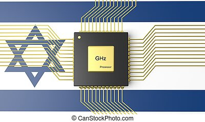 Computer CPU with flag of Israel background